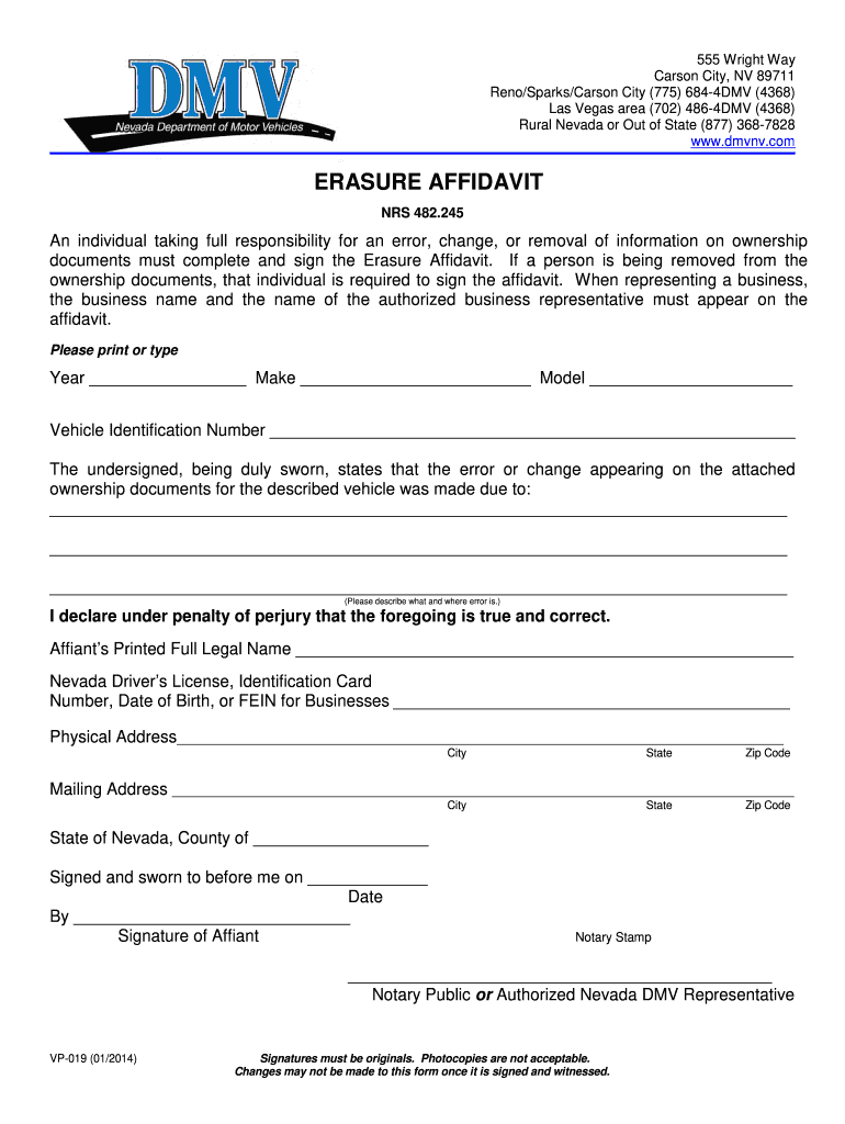 2014-2019 Form NV VP-019 Fill Online, Printable, Fillable