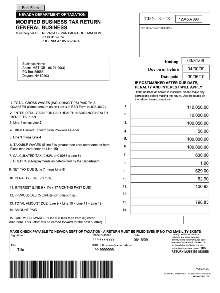 Nevada Modified Business Tax Form Pdf Fill Online Printable Fillable Blank Pdffiller