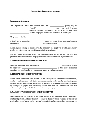 agreement filled form