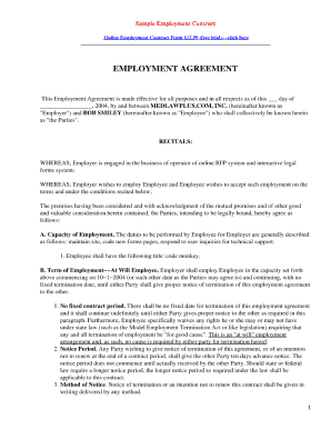 Free Fillable Employment Contract Template  Employment Contract Free Template