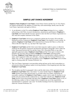 Last Chance Agreement Samples Fill Online Printable Fillable