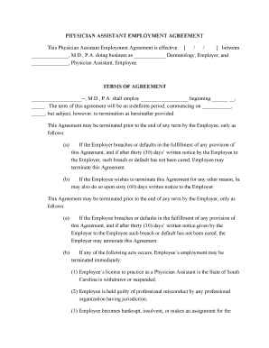 dermatologist employment contract templates form