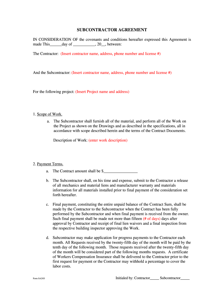 Subcontractor Agreement Construction Fill Online Printable Fillable Blank Pdffiller