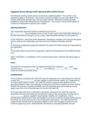 employment contract for chief operating officer form
