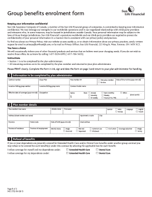 Sun Life Financial Group Enrollment Form - Fill Online ...