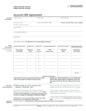 email bill agreement form