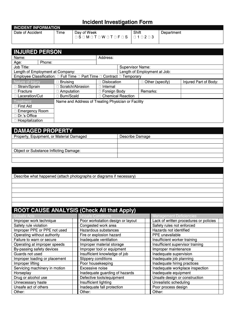 Fillable Online Incident Investigation Form Zenith Insurance