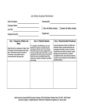 Printables Job Safety Analysis Worksheet job safety analysis worksheet form fill online printable fillable blank pdffiller