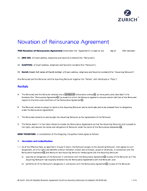 Novation agreement forms and templates fillable printable novation in reinsurance form platinumwayz