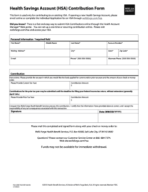 wells fargo hsa fax form fill online printable fillable blank