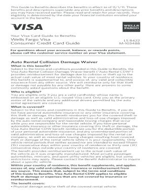 Wells Fargo Visa Commercial Card Car Rental - Fill Online
