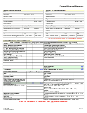 suntrust personal financial statement form
