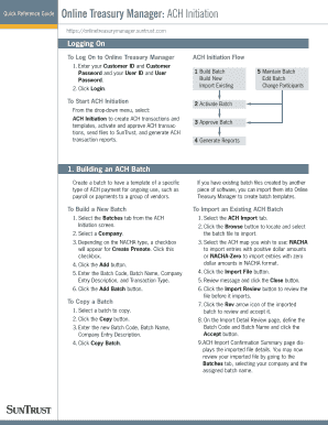 suntrust bank ach quick reference guide form