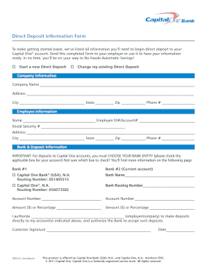 Capital One Direct Deposit Form
