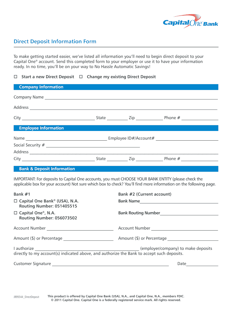 Capital One Direct Deposit Form - Fill Online, Printable ...