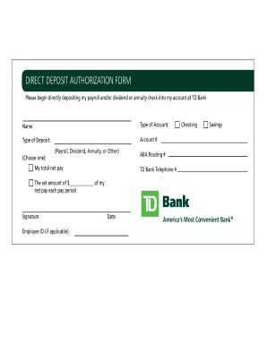 Direct Deposit Authorization Form Templates - Fillable & Printable ...