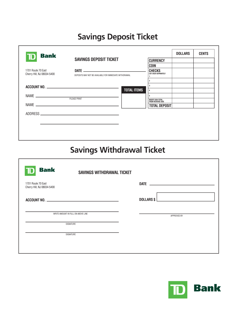 photograph relating to Us Bank Deposit Slip Printable named Td Financial institution Deposit Slip - Fill On the web, Printable, Fillable