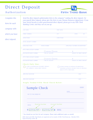 Get fifth third bank direct deposit form - PDFfiller