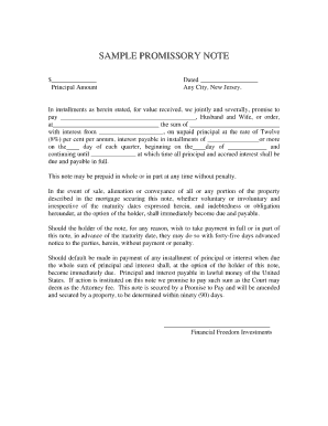 North Carolina Promissory Note Form Pdf  Free Download Promissory Note