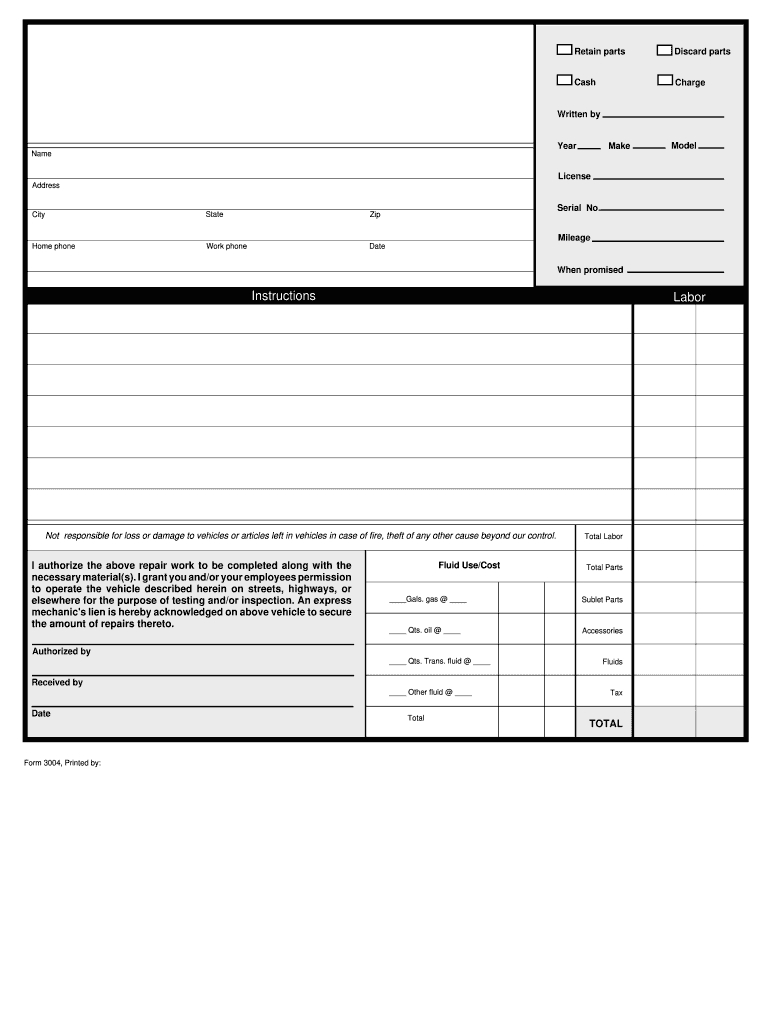 automotive repair forms