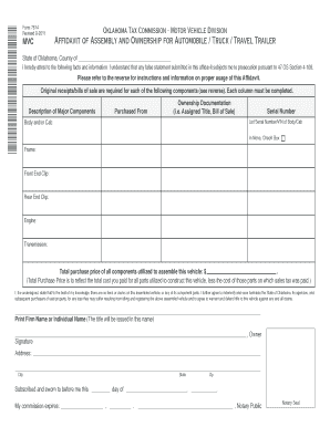 oklahoma tax commission vehicle bill of sale form