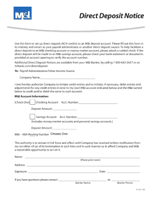 direct deposit form bmo  M&i Bank Direct Deposit - Fill Online, Printable, Fillable ...
