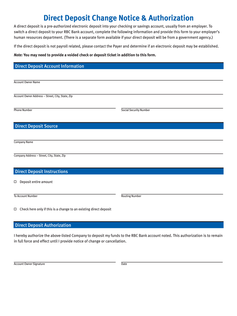 direct deposit form rbc  Rbc Direct Deposit Form - Fill Online, Printable, Fillable ...