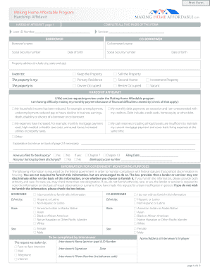 Fillable Home Affordable Modification Program Form Fill
