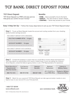 Tcf Direct Deposit Form - Fill Online, Printable, Fillable, Blank ...