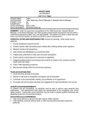 Elegant Arvest Bank Teller Job Description Throughout Bank Teller Job Description