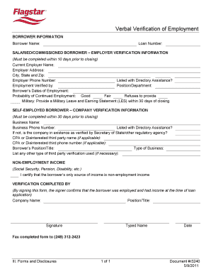 Flagstar Verbal Verification Of Employment Form Online  Prior Employment Verification Form