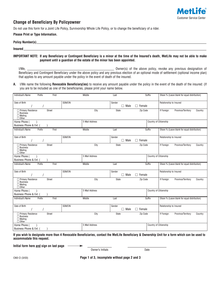 Metlife Change Of Ownership Form - Fill Online, Printable ...