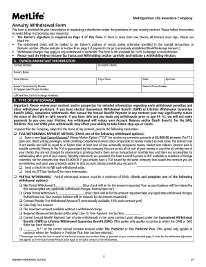2010 Form MetLife AnnWithdrawal Fill Online, Printable, Fillable ...