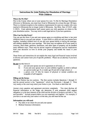 Bill Of Sale Form Minnesota Petition For Dissolution Of Marriage ...