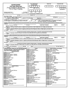 civil cover sheet mississippi 2001  form