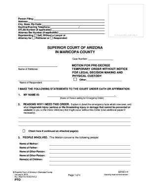 Complaint For Paternity Form For Superior Court Of Arizona Maricopa - Arizona legal forms