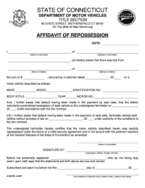 Bill of sale form massachusetts affidavit of repossession for Affidavit for repossessed motor vehicle texas form