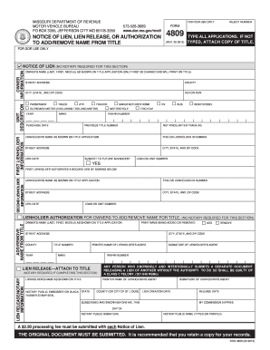 Missouri form 4809pdffillercom fill online printable for Motor vehicle lien search