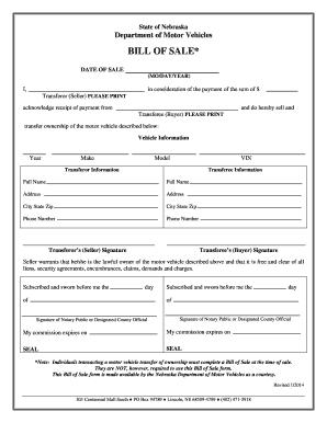 nebraska vehicle bill of sale fill online printable fillable blank pdffiller. Black Bedroom Furniture Sets. Home Design Ideas