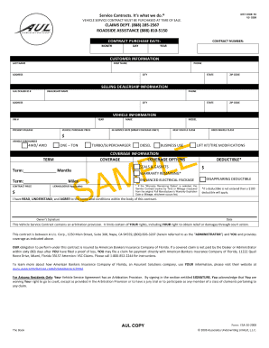 aul sample vehicle service contract form