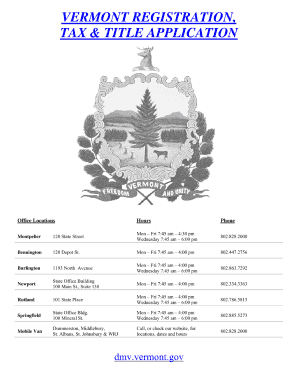 Vermont Motor Vehicle Bill Of Sale Form Templates - Fillable ...