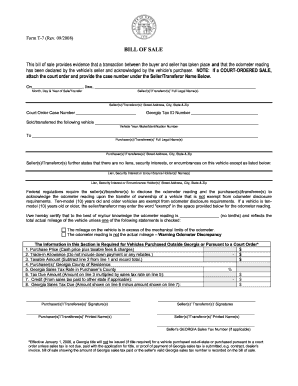 georgia motor vehicle bill of sale form templates fillable
