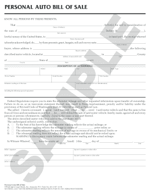 Sc Bill Of Sale >> Personal Auto Bill Of Sale Fill Online Printable Fillable Blank