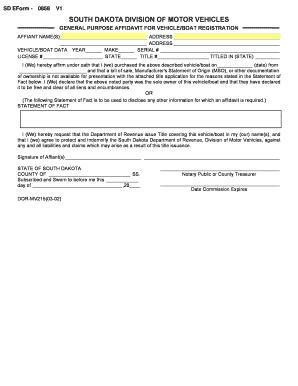 Bill Of Sale Form South Dakota Affidavit Of Vehicle Form Templates ...