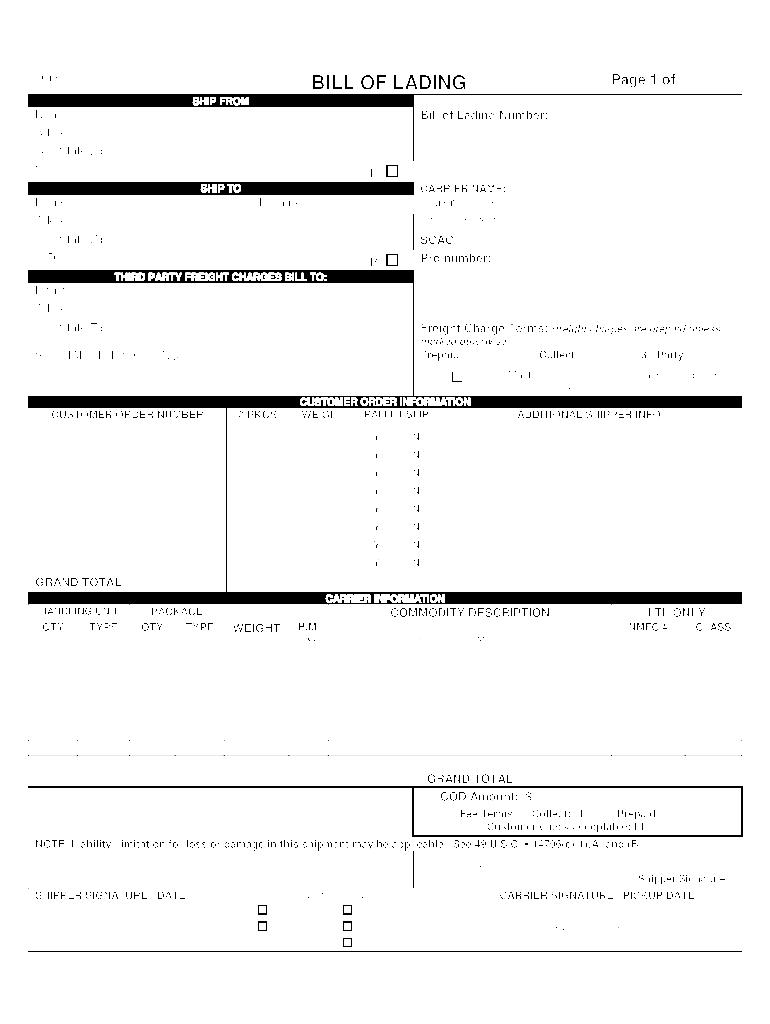 Bill Of Lading Form Fill Online Printable Fillable Blank Pdffiller