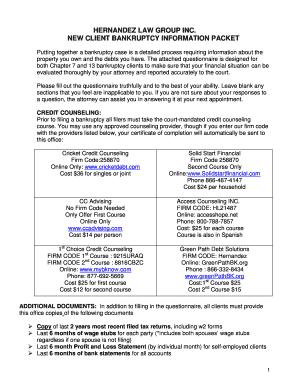 bankruptcy information sheet 2