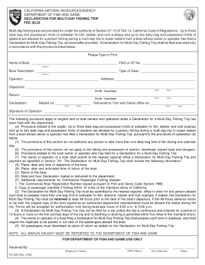 Declaration for multi day fishing trip fill online for Fishing permit ca