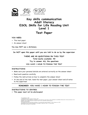 key skills communication adult literacy level 1 test form