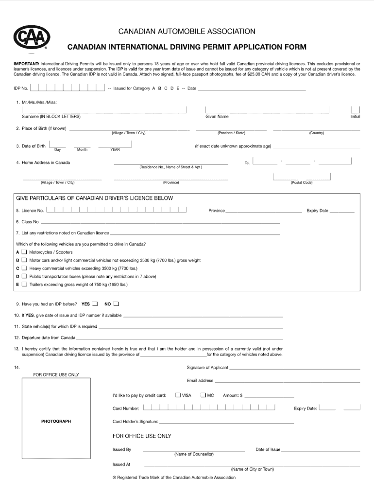 Canadian International Driving Permit Application Form