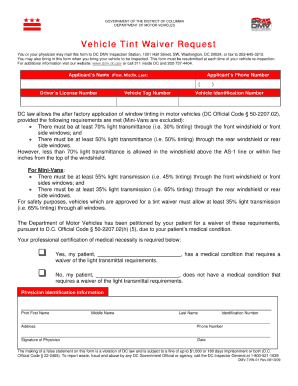 What does the dc tint waiver look like fill online for Maryland motor vehicle laws